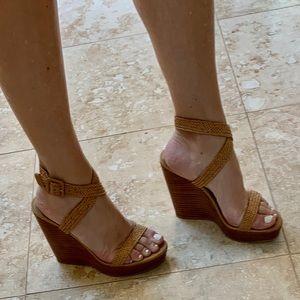 Stuart Weitzman Tan Leather Wedge Platform Sandals
